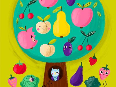 Fruits and vegetables garden tree vegetables fruits magazine illustration children digital illustration