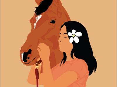 Women with a horse graphic design digital art art direction flat illustration horse women adobe illustrator illustration