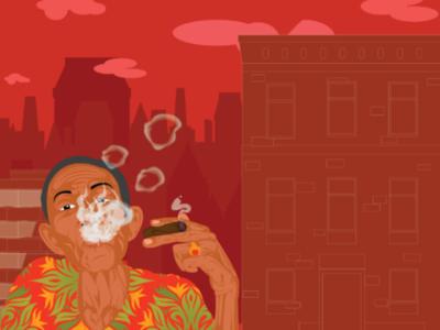 Smoke away yesterday smoke rings busy day city life red sky printed shirt cigar smoking digital art graphic design art direction character design adobe illustrator illustration