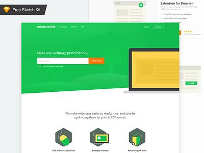 🎁  FREE Landing page sketch UI kit sketch app resources ui8 template web ui sketch freebie ui kit illustration minimal ui website