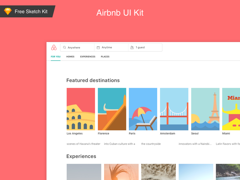Download 🎁  FREE Airbnb web sketch UI kit