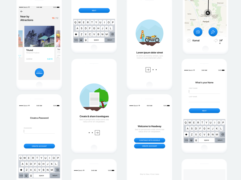 Itinerary creation on Mobile – Sketch Templates