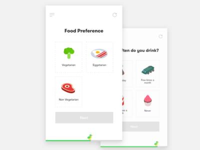 Workout planner Mobile App list workout food cards freebie ios menu mobile app selection ui ux
