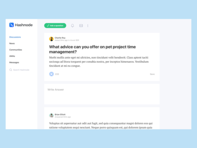 Hashnode: Post Page quora single question feed card gif animated dashboard free sketch sidebar community