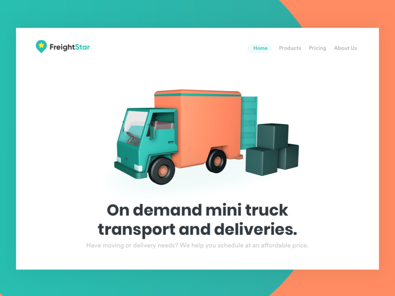 Landing page for truck booking portal shipping app cargo app cargo booking truck booking landing page ui app truck truck model cinema4d marketing landing page