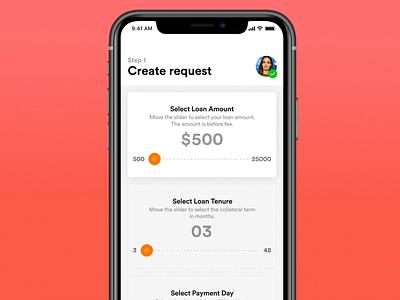 Create loan request gif animated freebie minimal emi loan calculator loan loans payment fintech app fintech mobile app design mobile design ios mobile
