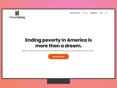 DreamSpring Donations Page ui gif make donation ui web page animation ui animation animation donation donate home page nonprofit
