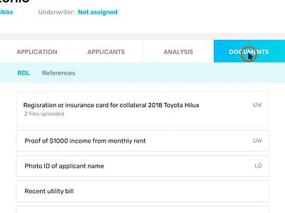 Document upload workflow submit upload document upload finance fintech interaction design application loan ux ui