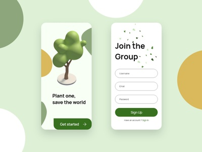 Mobile Sign Up Page for a tree planting campaign uidesign signup mobile app design mobile ui