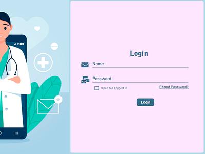 Simple login form with illustration ui ux illustration login form