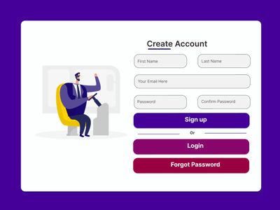 Signup Form minimal app web login form illustration ui design ux