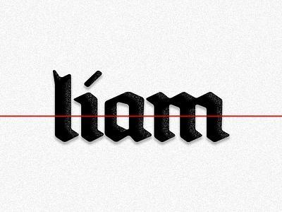 liam noise grain red liam branding logo type blackletter