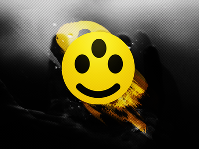 Acid HiFi Icon trippy smiley psychedelic wavy logo yellow hifi acid