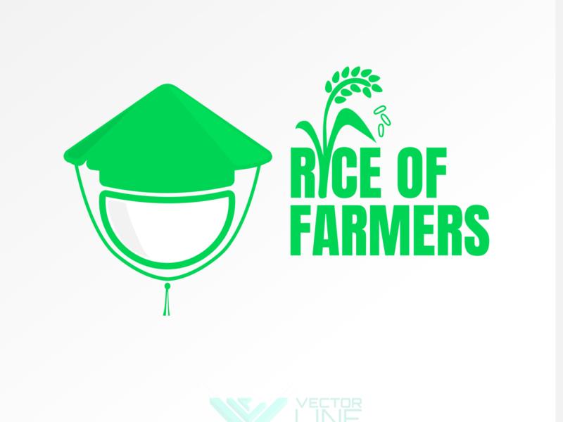 Rice of Farmers flat design vector farmer logo