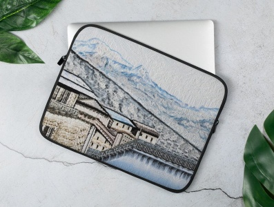 Narchyang Laptop Sleeves design narchyang mountain annapurna nepal branding product design digital illustration digital painting illustration design art laptop sleeves laptop