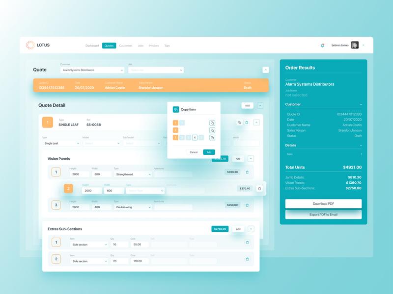 Lotus Dashboard webdesign admin panel admin interface order quote design quote web app ux ui dashboard concept app design app