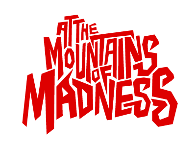 A journey begins at the mountains of madness custom type red logo horror lovecraft