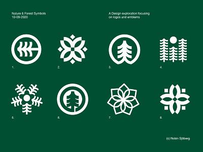 Nature & Forest Symbols sweden logotype trees geometric white green logomark logo dribble brands forest nature icon emblems symbol logos graphic design designer