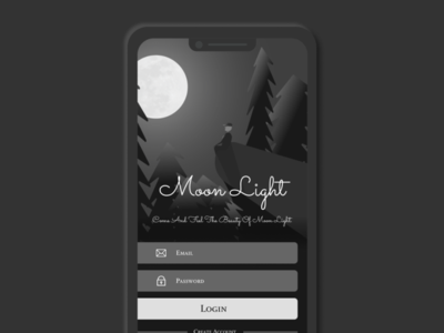 Moon-Light illustration Login Screen uidesign application design ux uiux ui design ui illustration app app design login design login screen