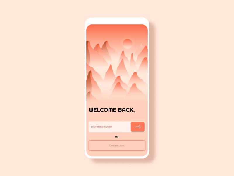 Mountain Climbing App Soft UI Design login screen login design uiux uidesign ui illustration design application app design app