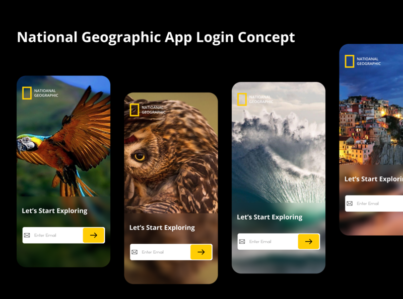National Geographic Login UI concept ui design login screen login design uiux uidesign ui design application app design app national geographic