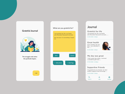 Grateful Journal App ui design app