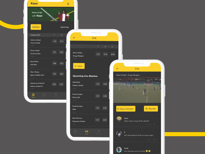 Live Streaming and Betting App football streaming app app ui design