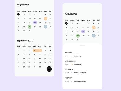 Calendar Screen calendar app app design ui