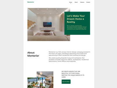 Interior Landing Page interior landing page branding web ui design