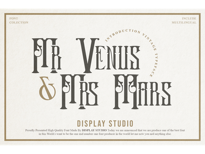 Mr VenusMrs Mars Font magazine landmark typeface logotype branding display mars venus
