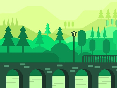 The bridge in the forest landscaping landscapes illustration art landscape illustration vector illustration bridge forest landscape flat web vector design illustration