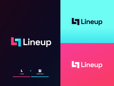 Lineup - Project Management Tool Logo Concept brand agency modern logo project management typogaphy style idenity visual collaboration team color brand identity brand design shapes app icon gradient logo monogram logo minimal app branding