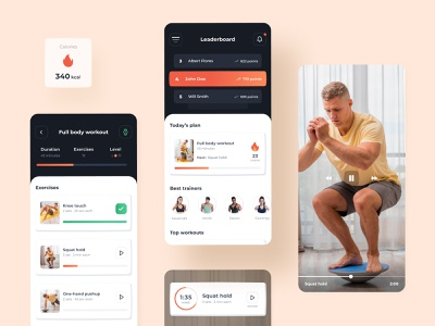 Home Workout App workout tracker streaks healthy friends scoreboard compete body agency ui  ux strength training mobile design fitness workout exercise clean ux ui mobile app design