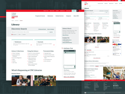 College of New Caledonia (CNC) - Library Landing Page contact events newsfeed card design cards advanced search search bar search chat bot links university college library landing page web design ux design ui design uiux ux ui