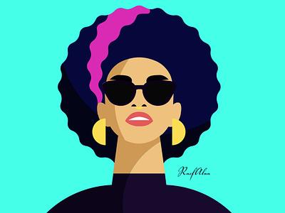 Girl With Sunglasses flat design artwork vector illustration