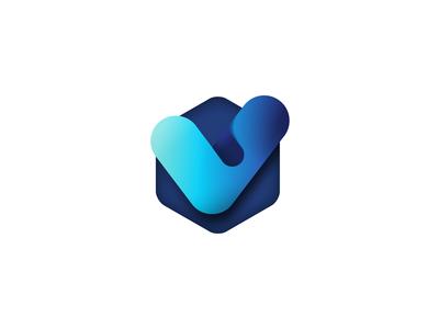 Check Mark Logo subtle smooth gradient mark logo check cyan light blue blue tick checkmark