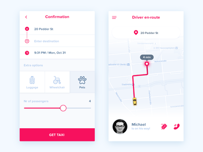Taxi App ux ui uber taxi route navigation map ios destination app android