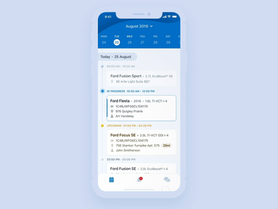 Tasks Calendar Schedule protopie tracking scheduling schedule test drive cars interaction design card animation button animation list calendar cards card transition gif ui ios app animation
