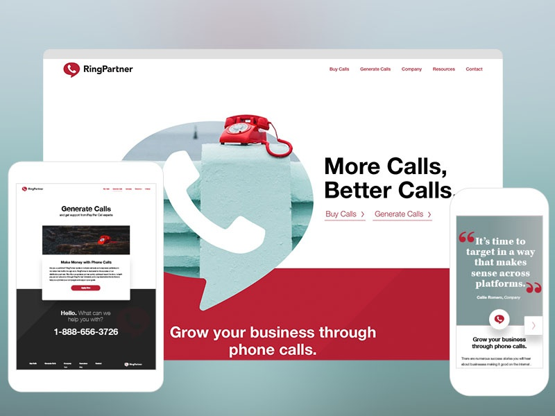 RingPartner.com call ux ui interface marketing responsive landing home website