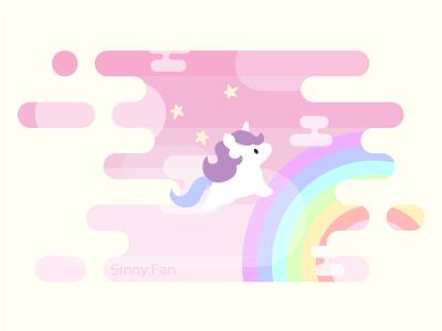 Rainbows and unicorns illustrator pastel kawaii horizontal cute minimalistic sky pink vanilla design flat design rainbow unicorn