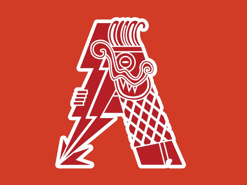 Aztec Letter A hello debut illustration tlaloc gods cool lettering mayan aztec