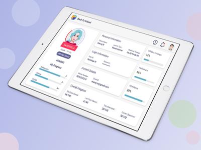 Student Profile soft ui layout design tablet design xd design clean ui