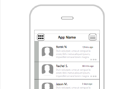 High Fidelity Wireframes of HandleThis userinterface feed navigation layout ui