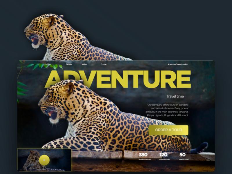 Первый экран сайта по туризму 1экран концепт тигр туризм ux ui web design