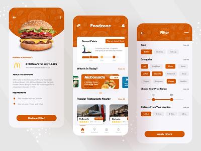 FoodZone App UI design branding website fast food testy vip pizza burger food menu food menu mobile app near food find restaurant restaurant delivery food delivery foodzone food app