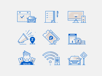 Line illust icon set