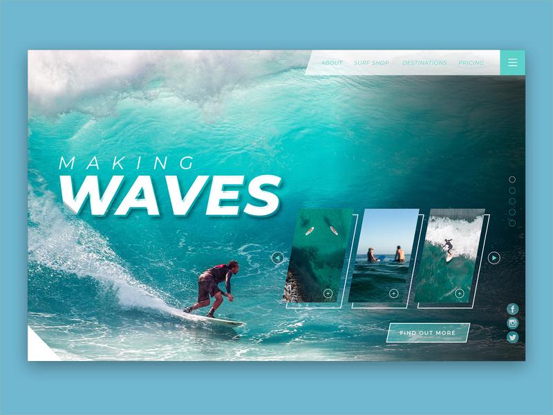 Studio Jukes – Surfing Website Design web design website surfing webdesign surfing website making waves ui uidesign landing home graphic design design
