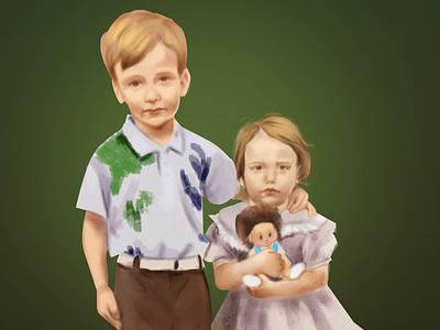 Family portrait girl boy kids digitalart art family