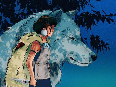 princes mononoke gibli miyazaki anime wolf fanart mononoke girl digitalart art
