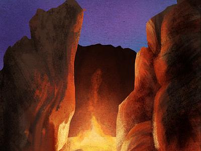 rocks night sky desert digitalart art